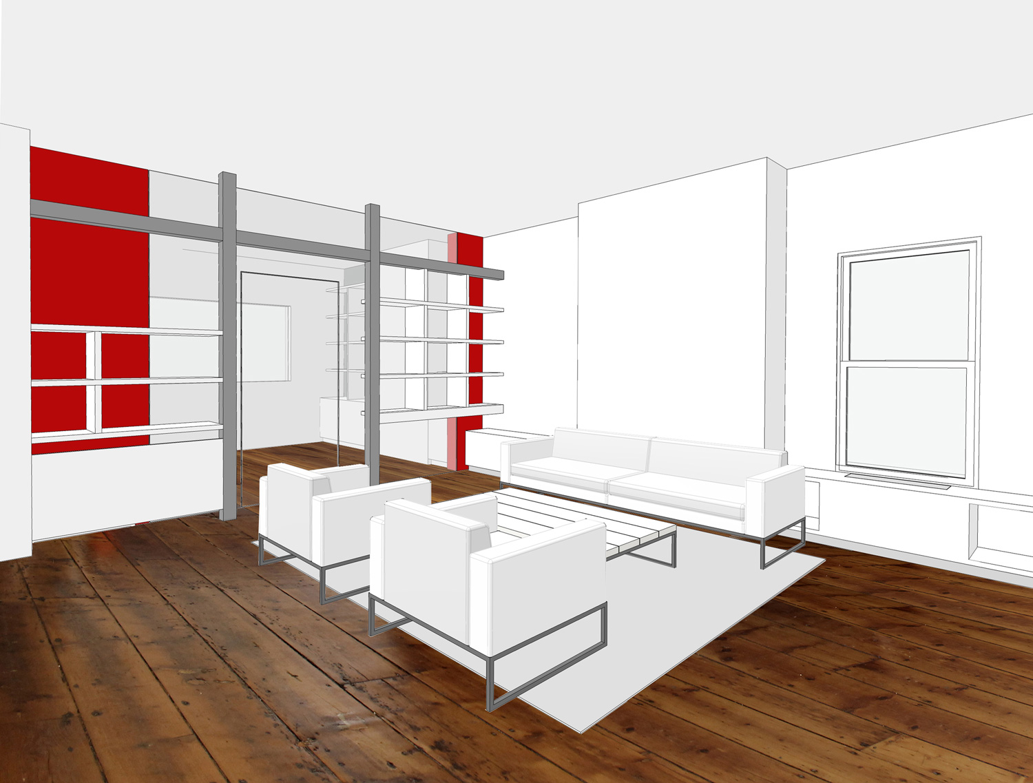Williamsburg Townhouse Renovation-View of living room and home office