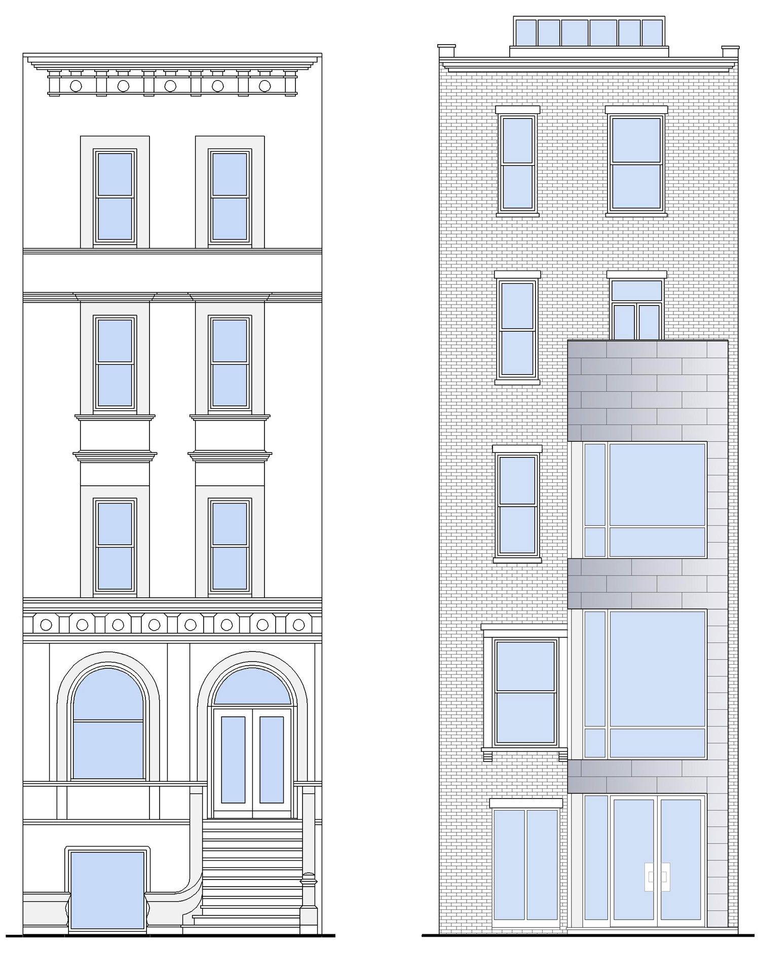 New York Townhouse Renovation - Street and rear yard building elevations