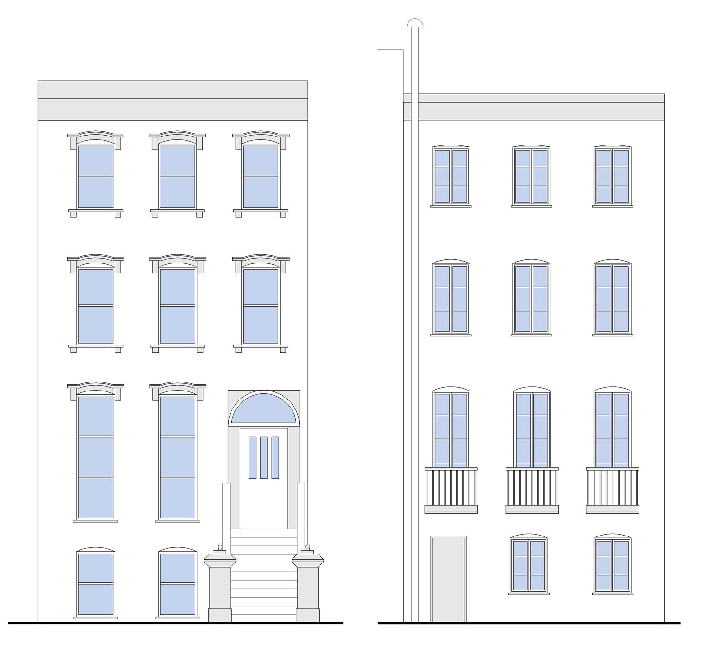 Brooklyn NY Brownstone Renovation - Building Elevations
