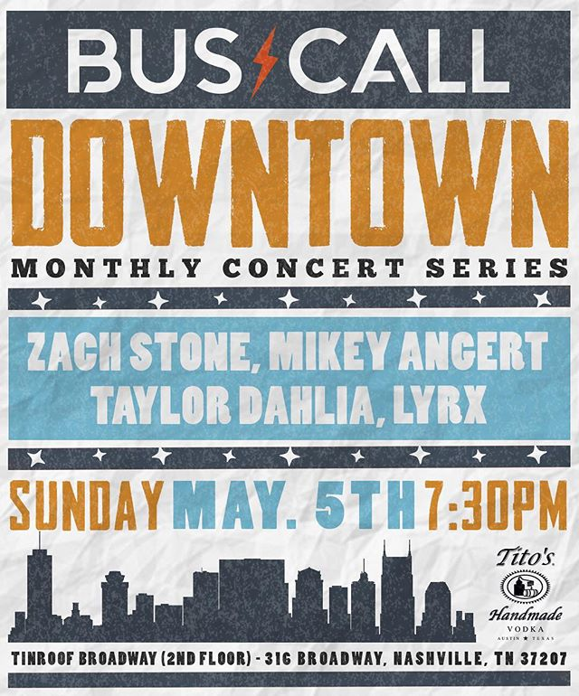 Sunday night!! Come out and party with us for #cincodemayo @buscallnashville style for our Downtown Concert Series, featuring: @zachstonecountry, @miguel_potato, @taylordahlia_ and @lyrxofficial!!⚡️$8 Tito's, $3 Jell-O shots⚡️party starts at 7:30pm 2nd floor @tinroofbroadway! see y'all Sunday night!! • • • #dontmissbuscall #buscallnashville #tinroofnashville #nashville #nashvillemusic #musiccity #singersongwriter #music #nashvillenightlife  #nashvillenights #wednesday #la #nyc #tinroof #tinroof #liveshow #showcase #nashvilletn #nashvillenight #broadway #nashvilleartist #originalmusic #nashvilledowntown #sundaymusic #recordingartist #broadwaynashville