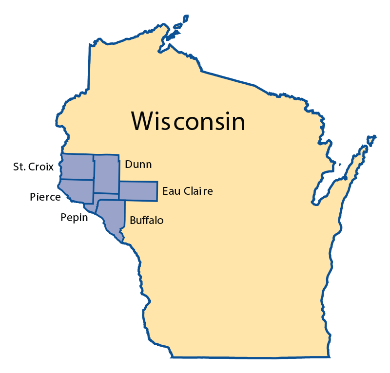 Our Service Area - We are headquartered in Stockholm, WI, and we service these Western Wisconsin counties.
