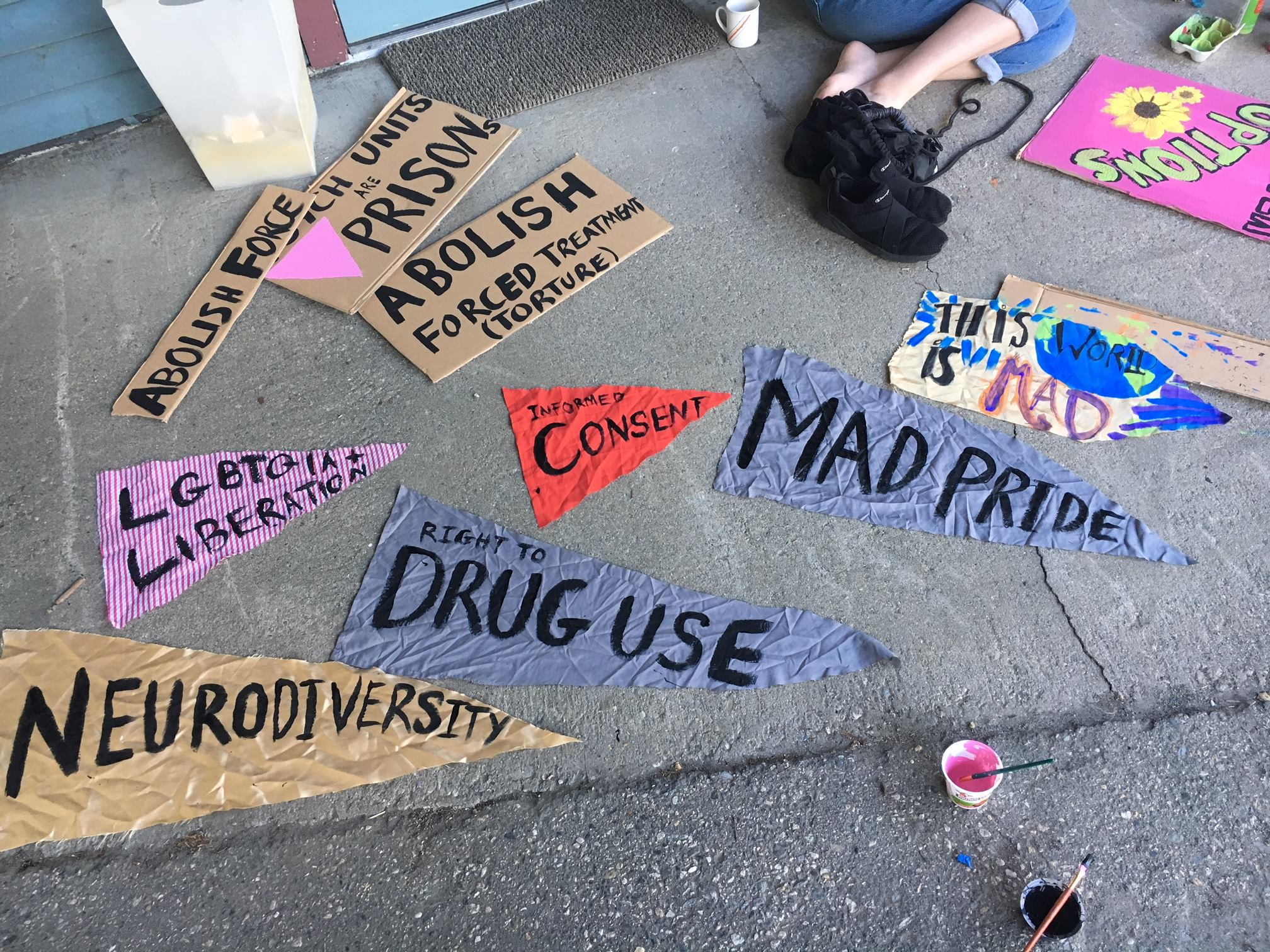 Signs from the Vermont Psychiatric Survivors Mad Pride March 2018