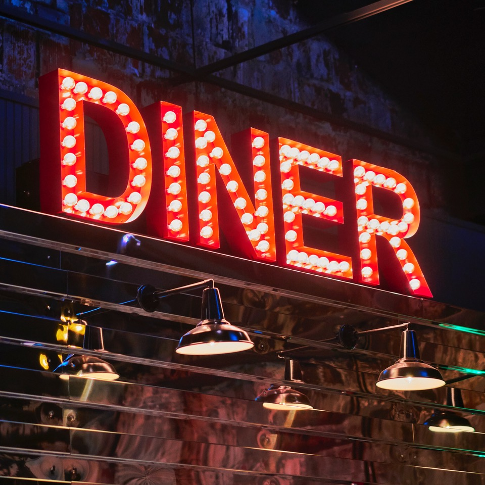 Light-up DINER sign
