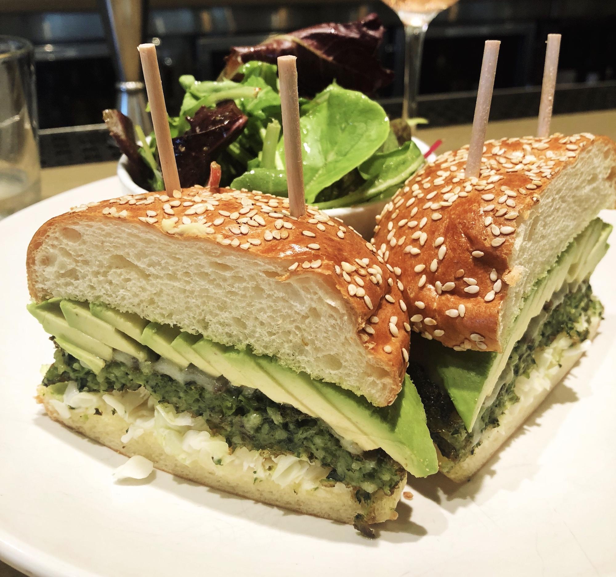 Housemade Green Veggie Burger via Summer House Santa Monica