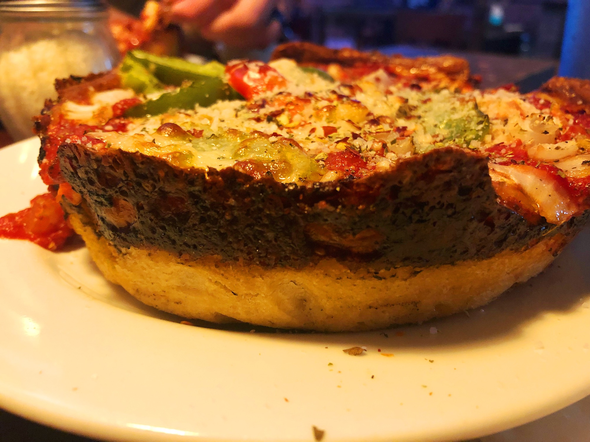"""Personal 7"""" pizza from Pequod's with Onion, Green Pepper & Fresh Garlic"""