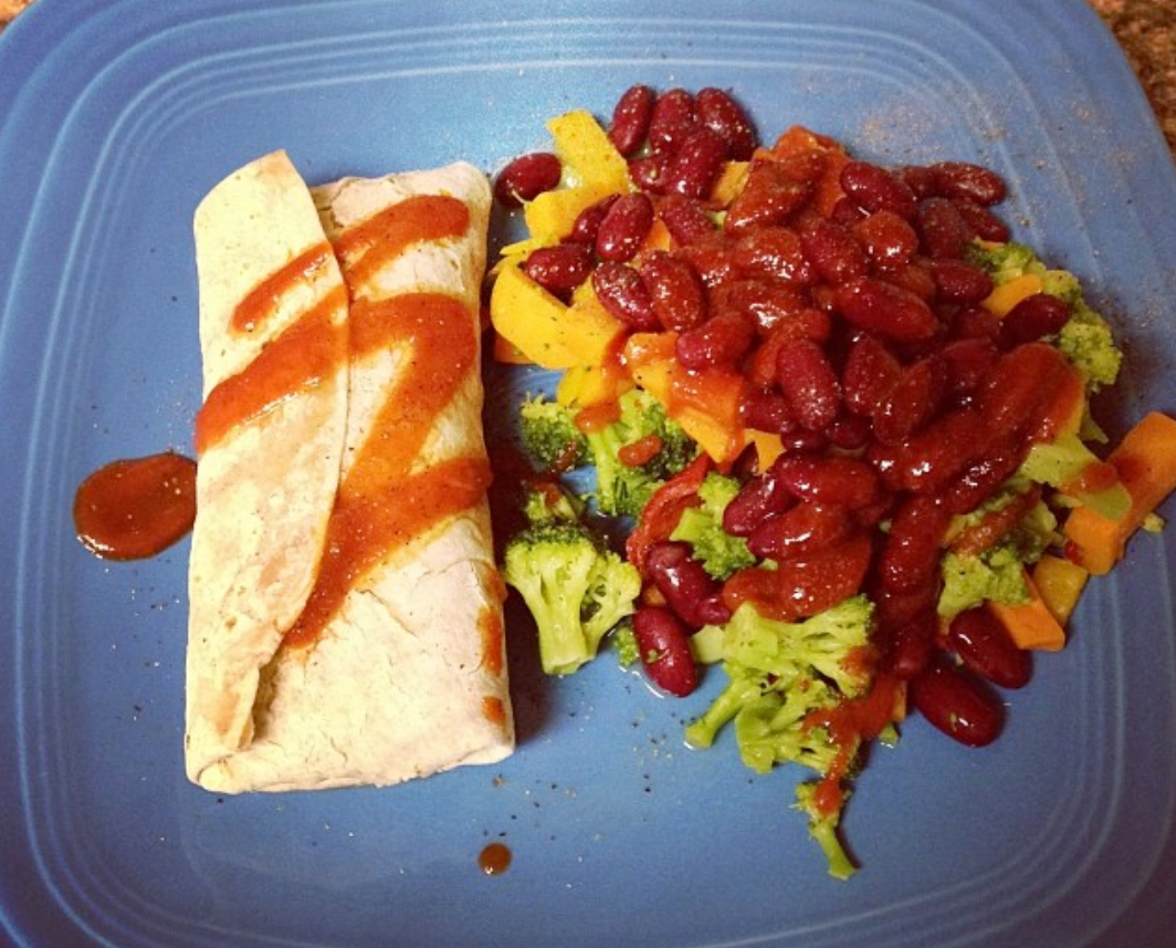 One such single person meal: an Amy's Bean & Cheese Burrito with frozen veggies & kidney beans. And yes, I did feel the need to Instagram this in January 2014.
