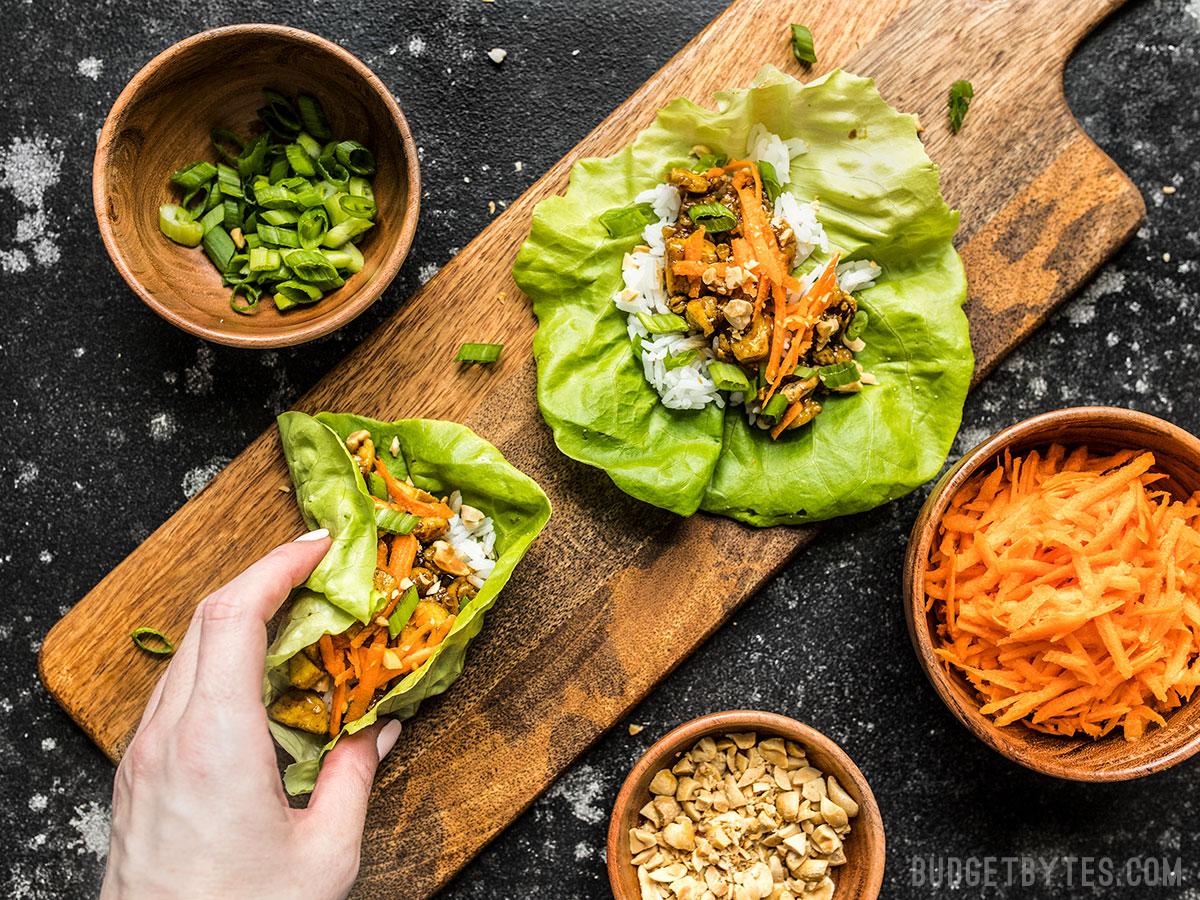 Hoisin Tofu Lettuce Cups    via Budget Bytes