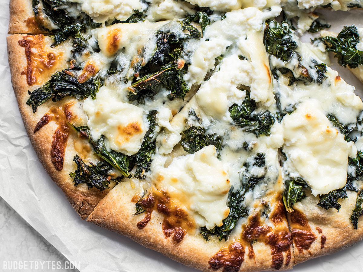 Garlicky Kale and Ricotta Pizza    via Budget Bytes