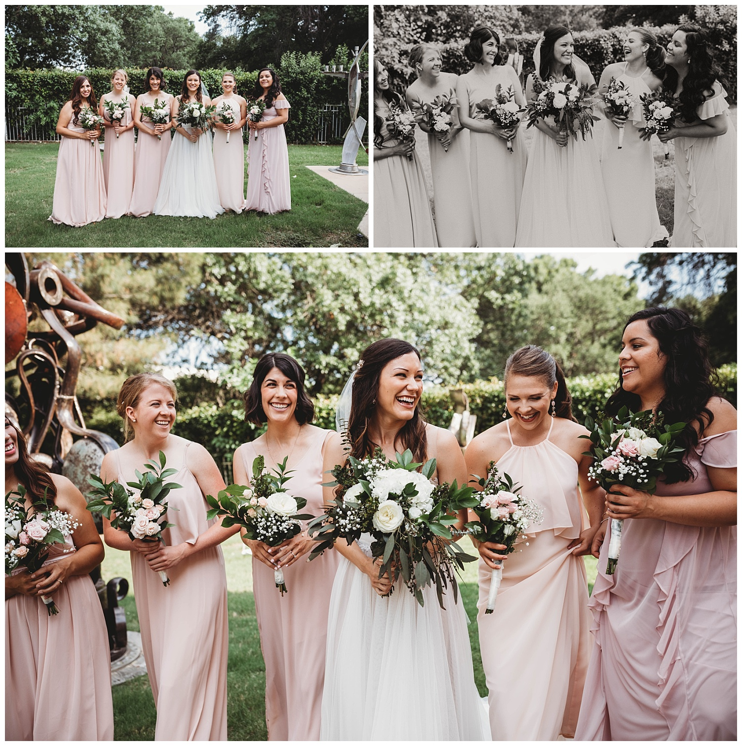 Sweet Bridesmaids outside at the Museum of Biblical Art.