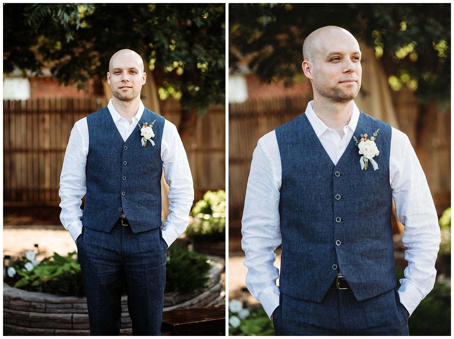 Groom posing for photos in this beautiful backyard wedding.
