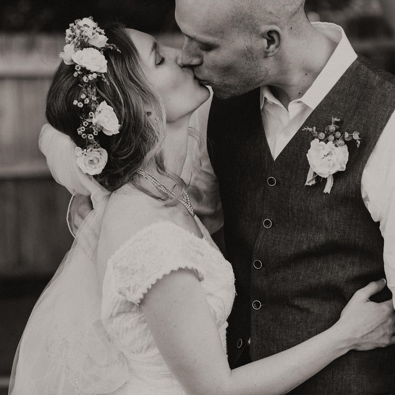 B&W Wedding Couple, Backyard Wedding in Oklahoma City, OK