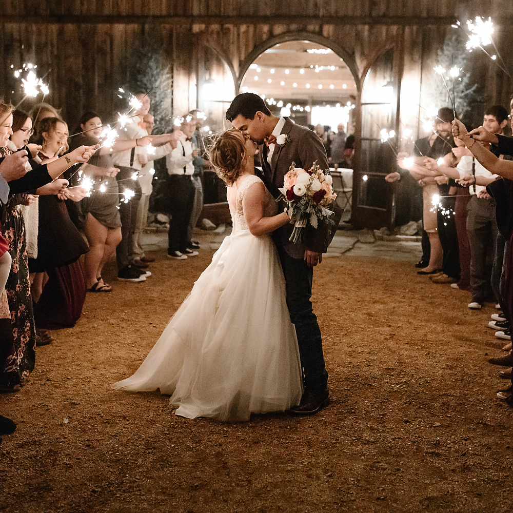 Wedding Photography at Rosemary Ridge, Beautiful Sparkler Exit.