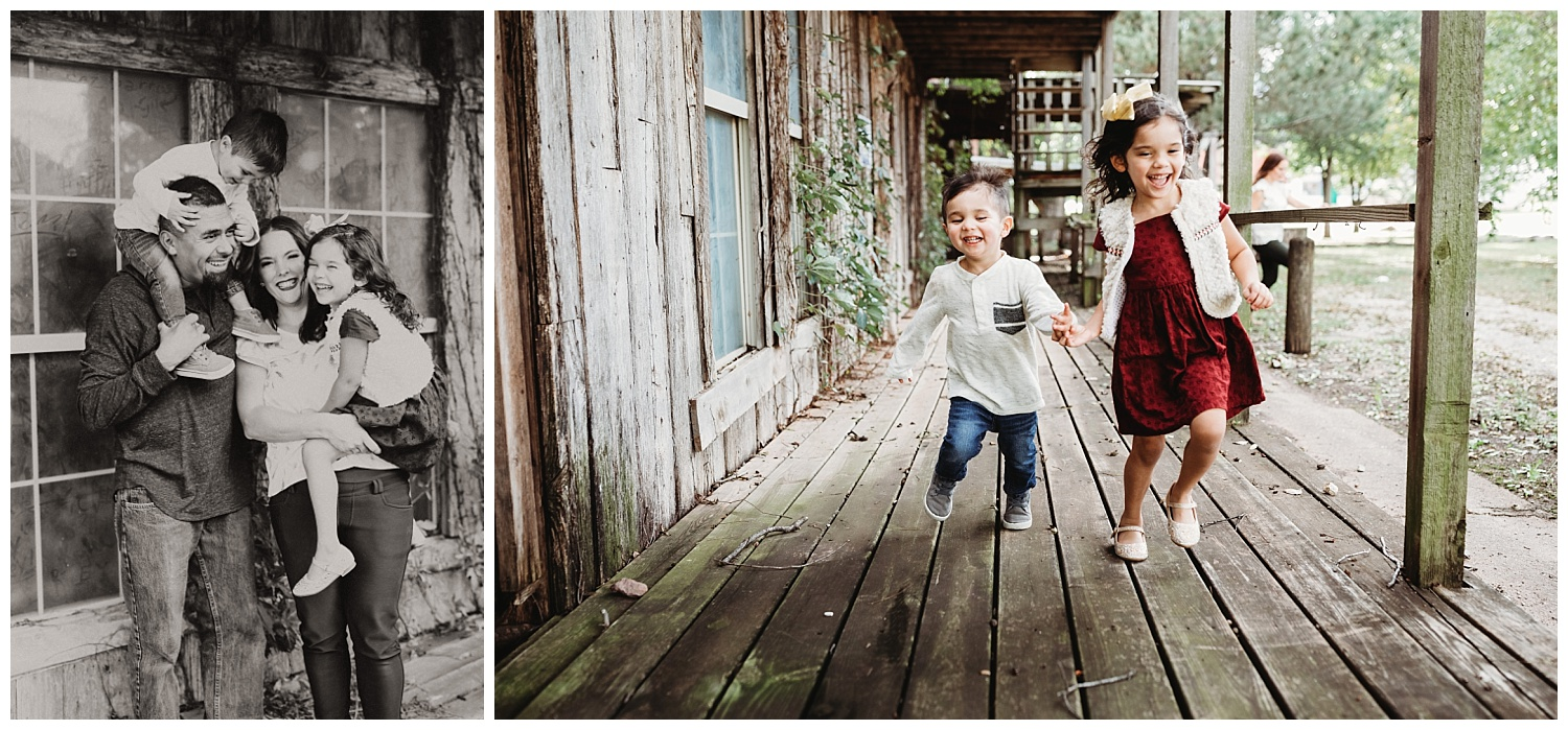 Kids running and playing during a family photo session. Photos were taking off Route 66 in Oklahoma.