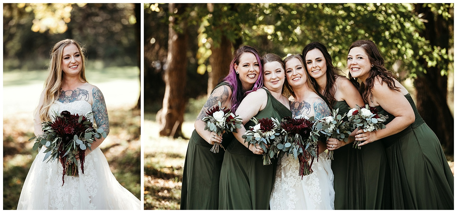 Bride and Bridesmaids before the wedding at Ranch of the Saints in Jones, Oklahoma.