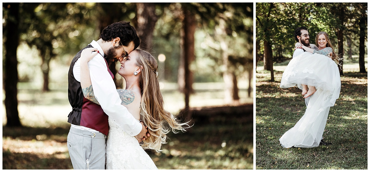 Bride and Groom photos before wedding at Ranch of the Saints.