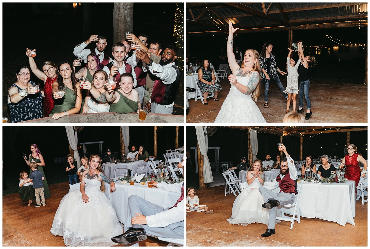 Bouquet toss and toast at Mikey and Amber's wedding reception.