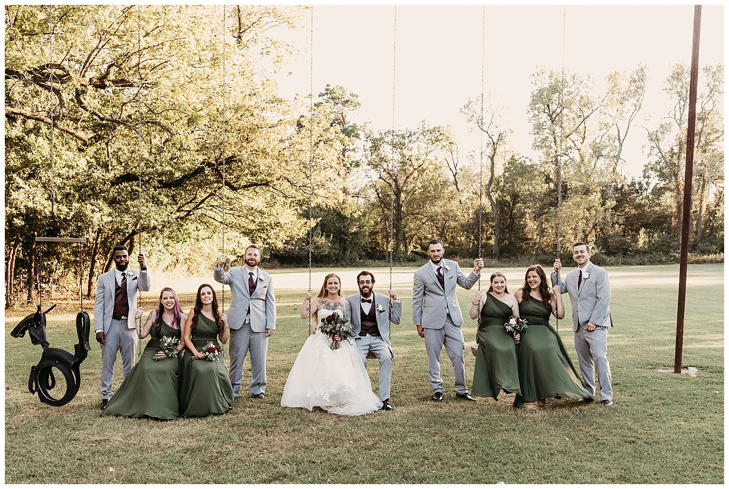 Bridal Party on Swing set at The Ranch of the Saints in Jones, Oklahoma