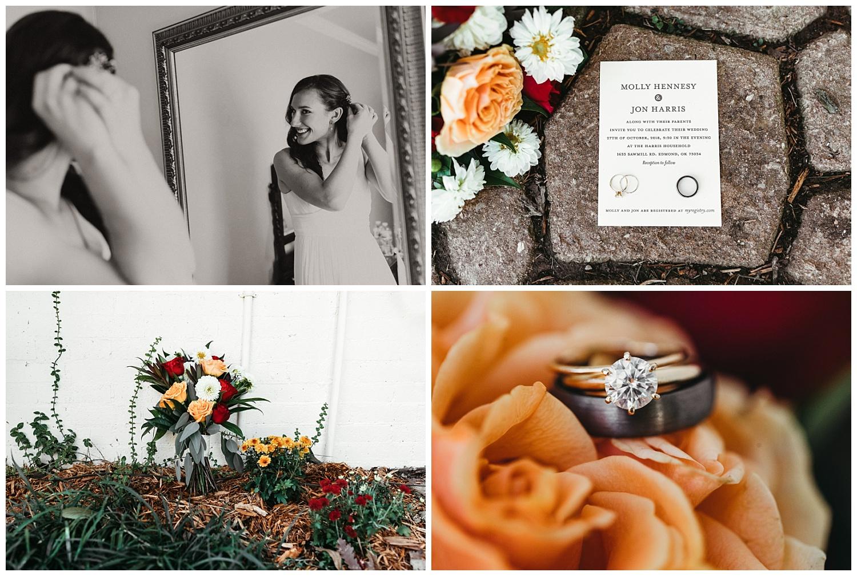 Jon and Molly's backyard wedding details, Edmond Oklahoma. Ring, Bouquet , invitation photos.