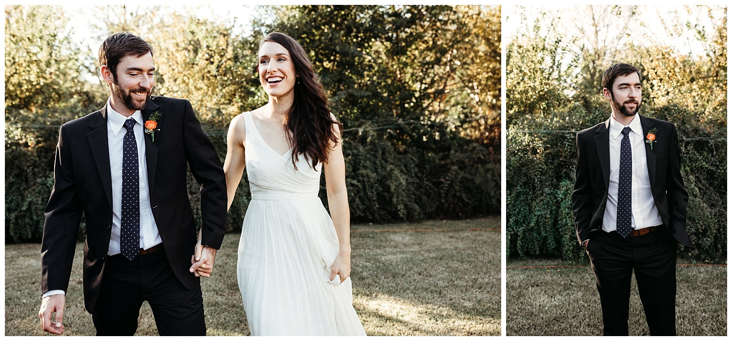 Over the moon Bride and Groom walking after their first look. Oklahoma Backyard Wedding.