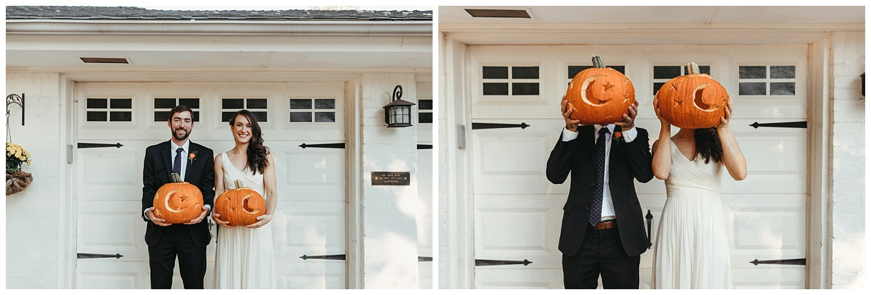 Bride and Groom with pumpkins! October wedding in Oklahoma