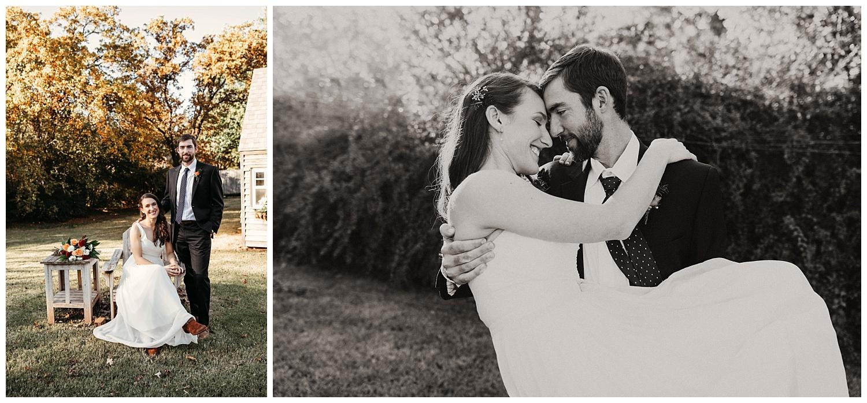 In love Bride and Groom in Edmond, Oklahoma. Beautiful Backyard Wedding.