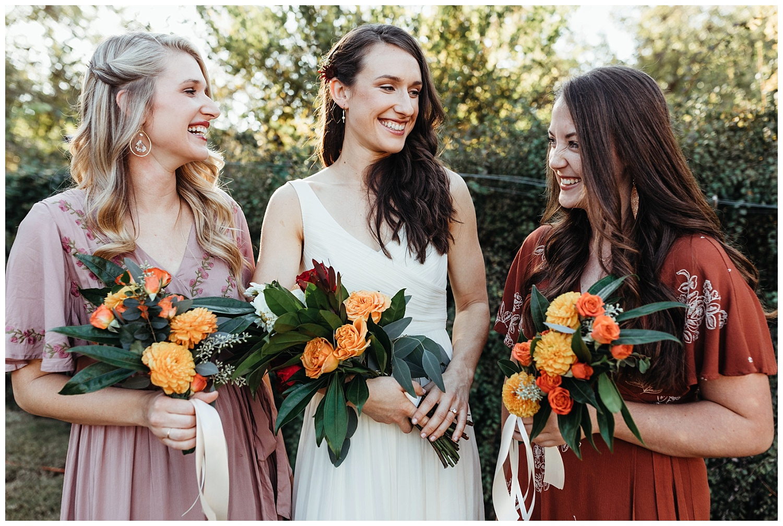 Bridesmaids laughing, Oklahoma Backyard wedding.