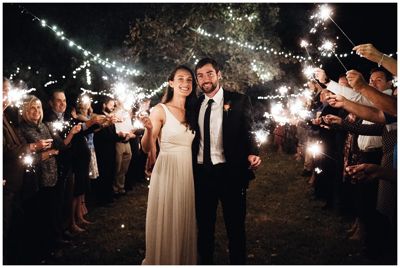 Edmond, Oklahoma Backyard Wedding Sparkler Exit.