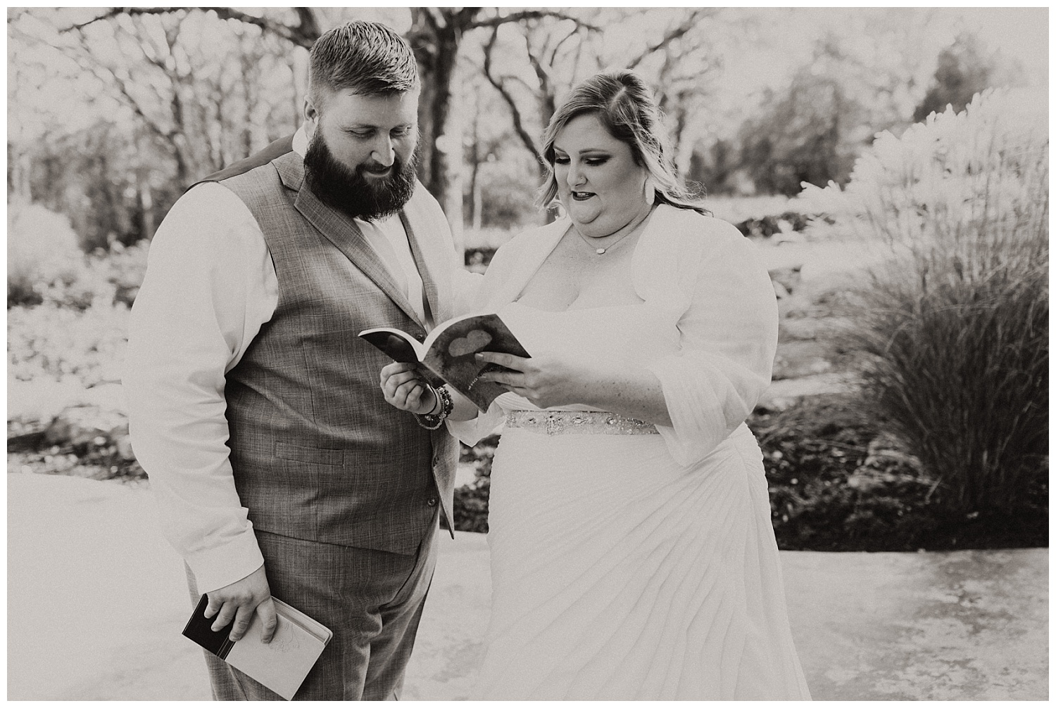 Bride and Groom gift exchange at the springs in Blanchard, Oklahoma.
