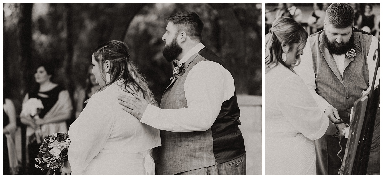 B&W Wedding Couple during Ceremony in Blanchard, OK.