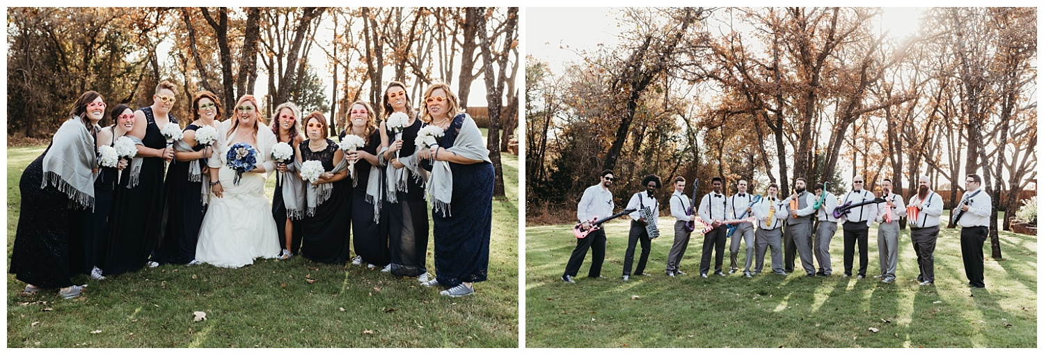 Funny Bridal Party Photos taken outside before the ceremony.