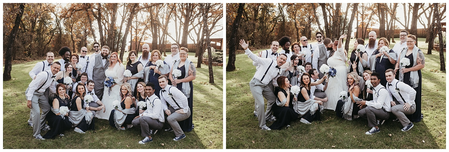 Fun Full Bridal Party Photos outside The Springs.
