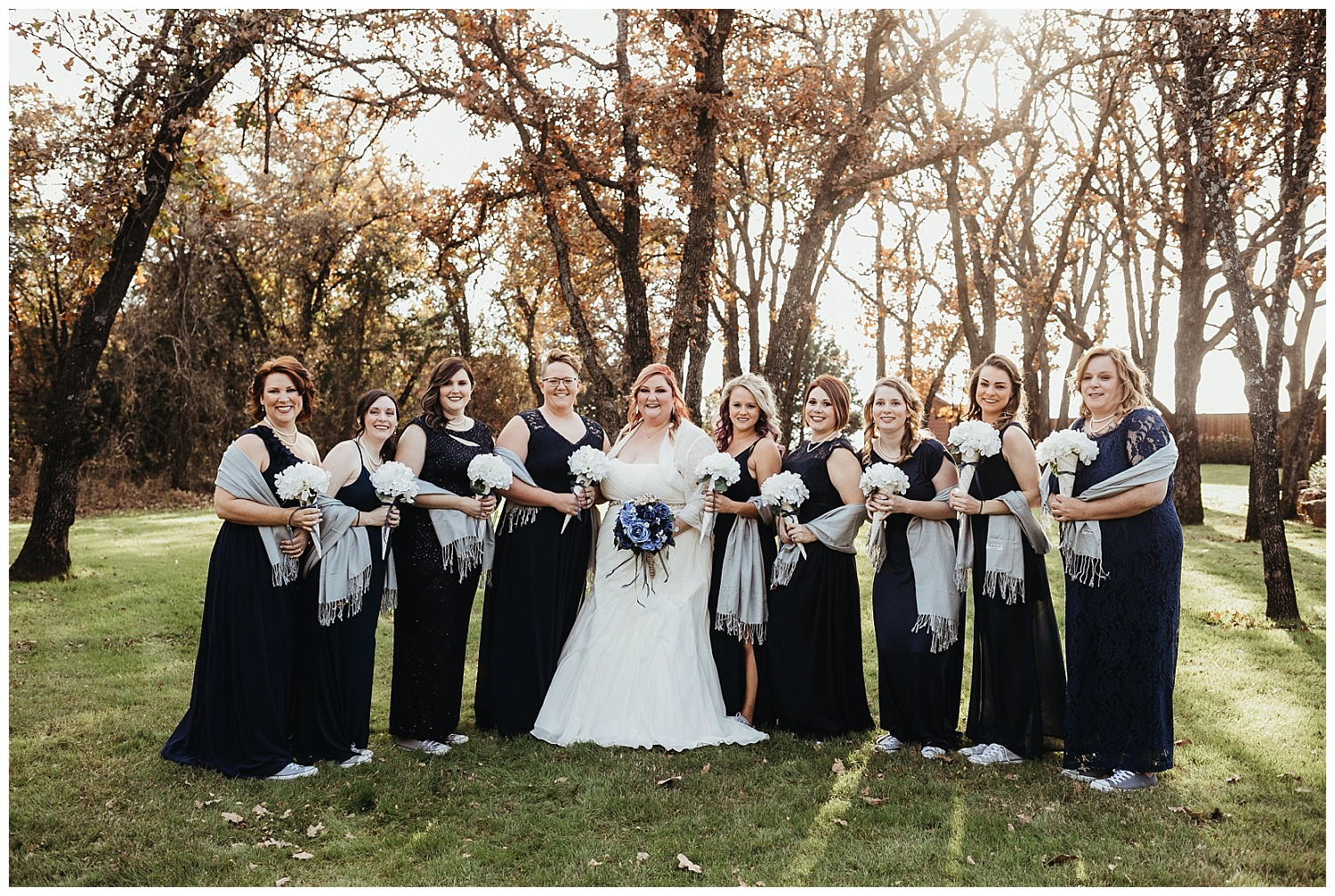 Beautiful Bridesmaids outside The Springs in Oklahoma.