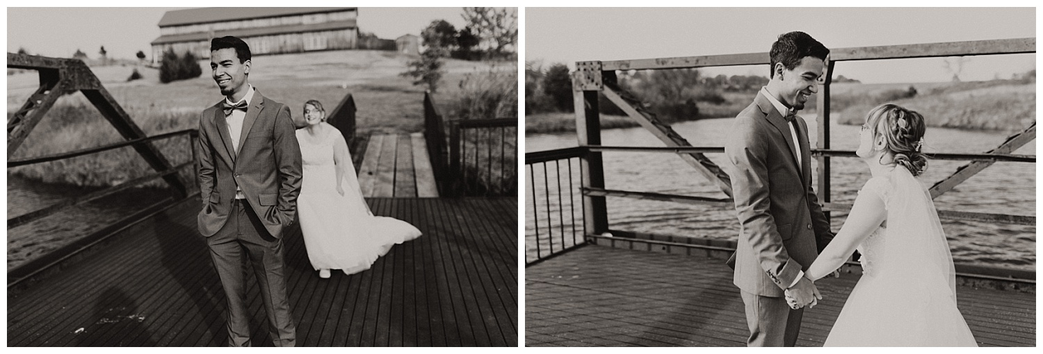 First Look photos on the dock outside the wedding venue.