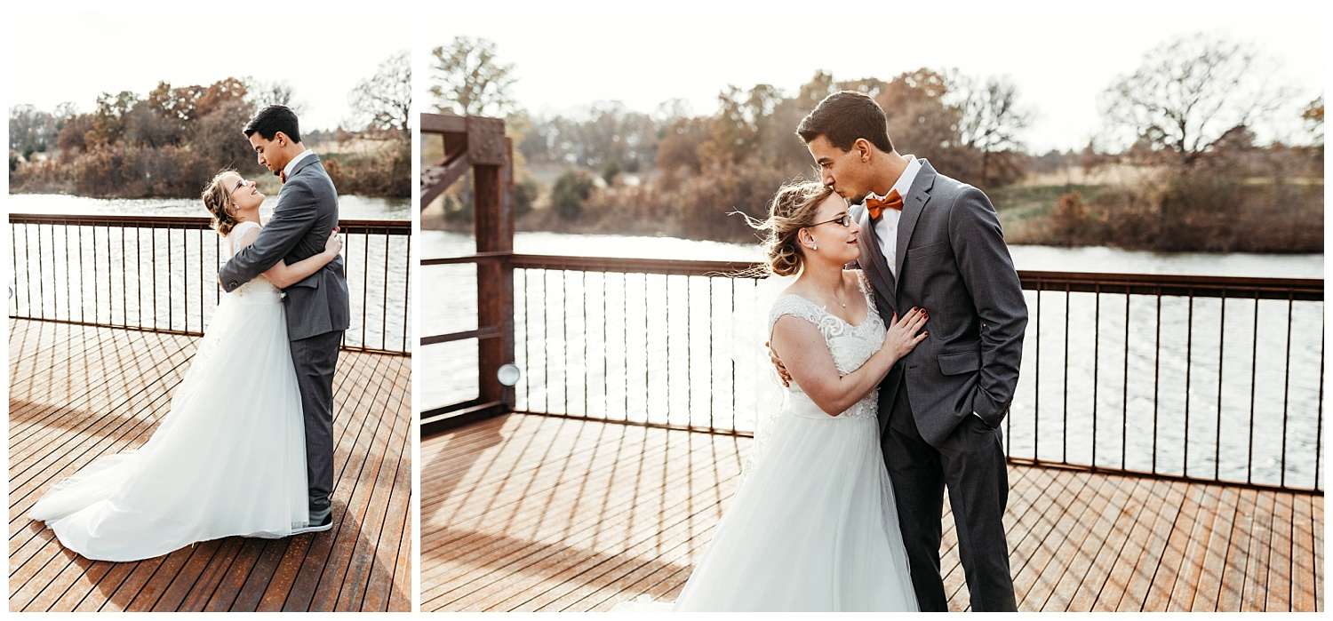 Bride and Groom Photos on the Dock at Rosemary Ridge.
