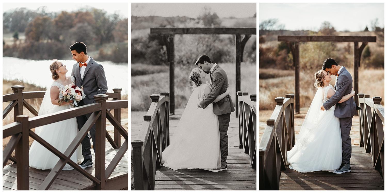 Wedding Couple's on the bridge at Rosemary Ridge in Stillwater, Oklahoma.