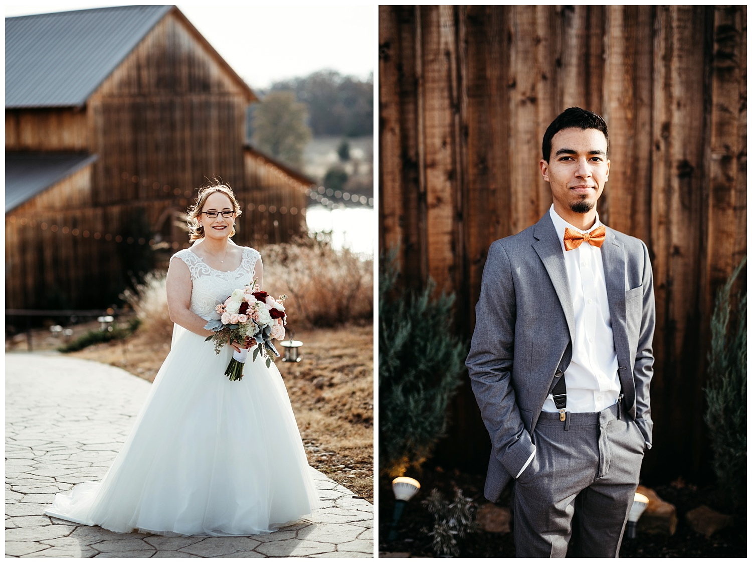 Beautiful Bride and Groom photos at the barn venue.