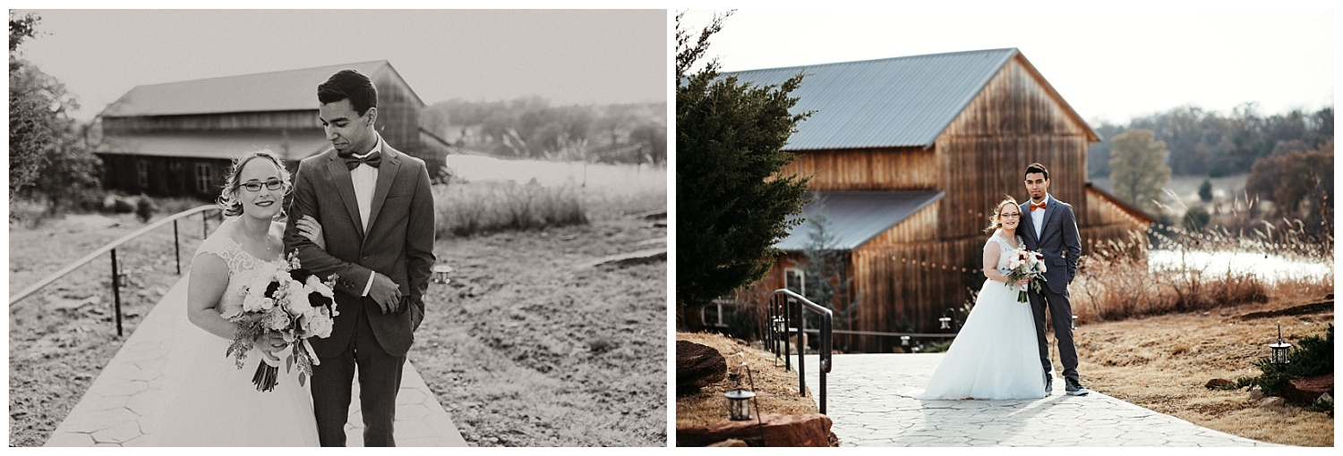 Beautiful day at Rosemary Ridge, wedding couple posing for photos in front of the barn.