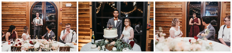 Wedding reception speech and cake cutting.