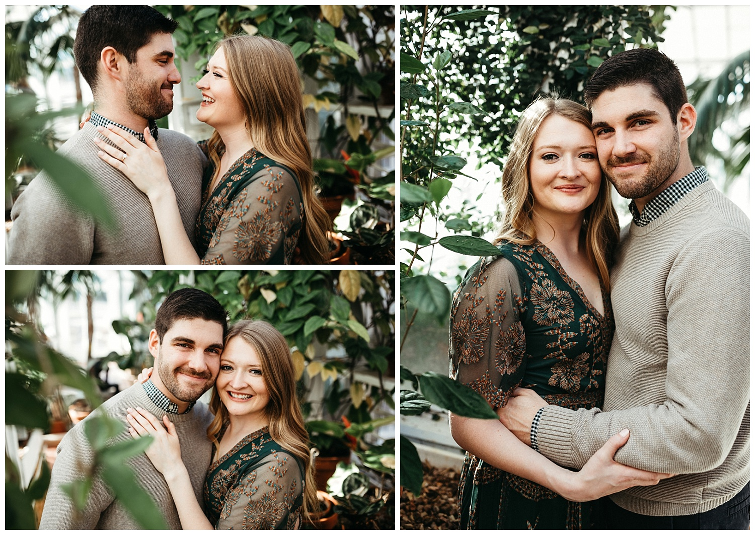 Photos of the happy couple in the Conservatory Greenhouse at Woodward Park in Tulsa, Oklahoma. Love this place, so beautiful.