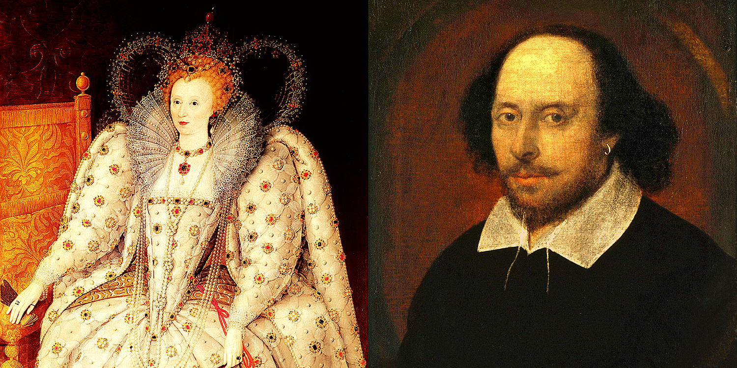 William Shakespeare created dynamic roles for women during the prolific Elizabethan Age, later portrayed by women on the stage.  Queen Elizabeth I of England and Ireland,  circa 1592, by Anonymous ; William Shakespeare,  circa 1600–1610, associated with John Taylor, from Wikimedia Commons.