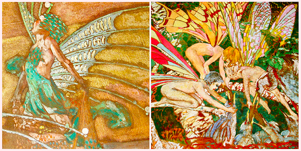 Details from Marion Mahony Griffin's commissioned mural for the George B. Armstrong School of International Studies in Chicago, photographed by Janine Fron. Used with permission.