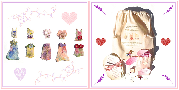 Prairie inspired bespoke flora fashions for Celeste, Mai, Yasmine, Harmony and Rose: the   Prairie Fairies   game set includes unique fashion cards made from pressed flower petals and leaves, silk and locally raised organic wool along with a hand-painted prairie meadow muslin play mat and matching drawstring storage bag.