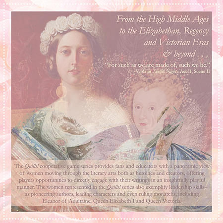 Quills! Elizabethan Edition I    Montage: Queen Victoria of England , 1845, Alexander Melville;  Queen Elizabeth I of England and Ireland , circa 1592, Anonymous; Eleanor of Aquitaine; from Wikimedia Commons.