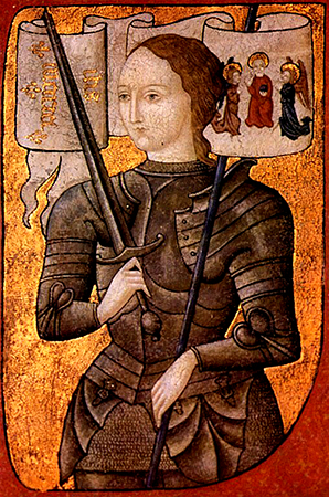 Joan of Arc, circa  1450 and 1500, oil on parchment, from Wikimedia Commons.