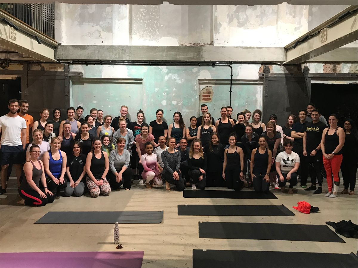Yoga class at Squire and Partners as part of Property Sports Network