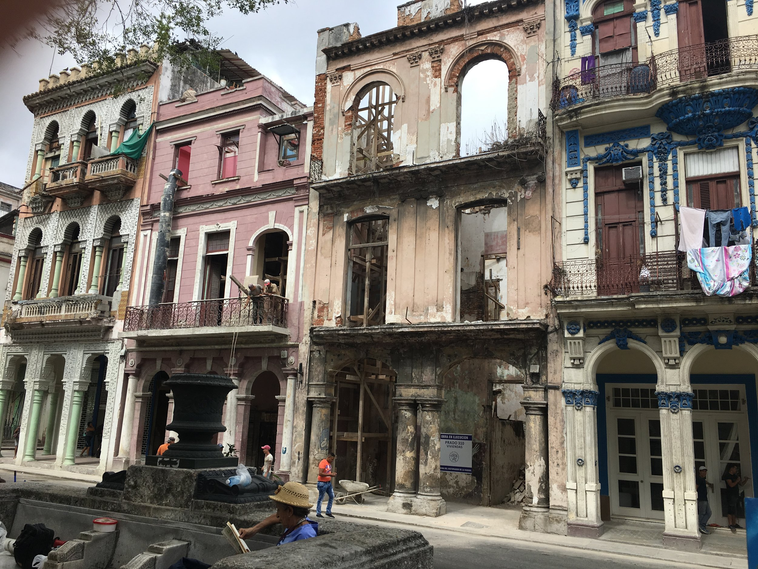 Not all the buildings on Paseo del Prado are in good condition
