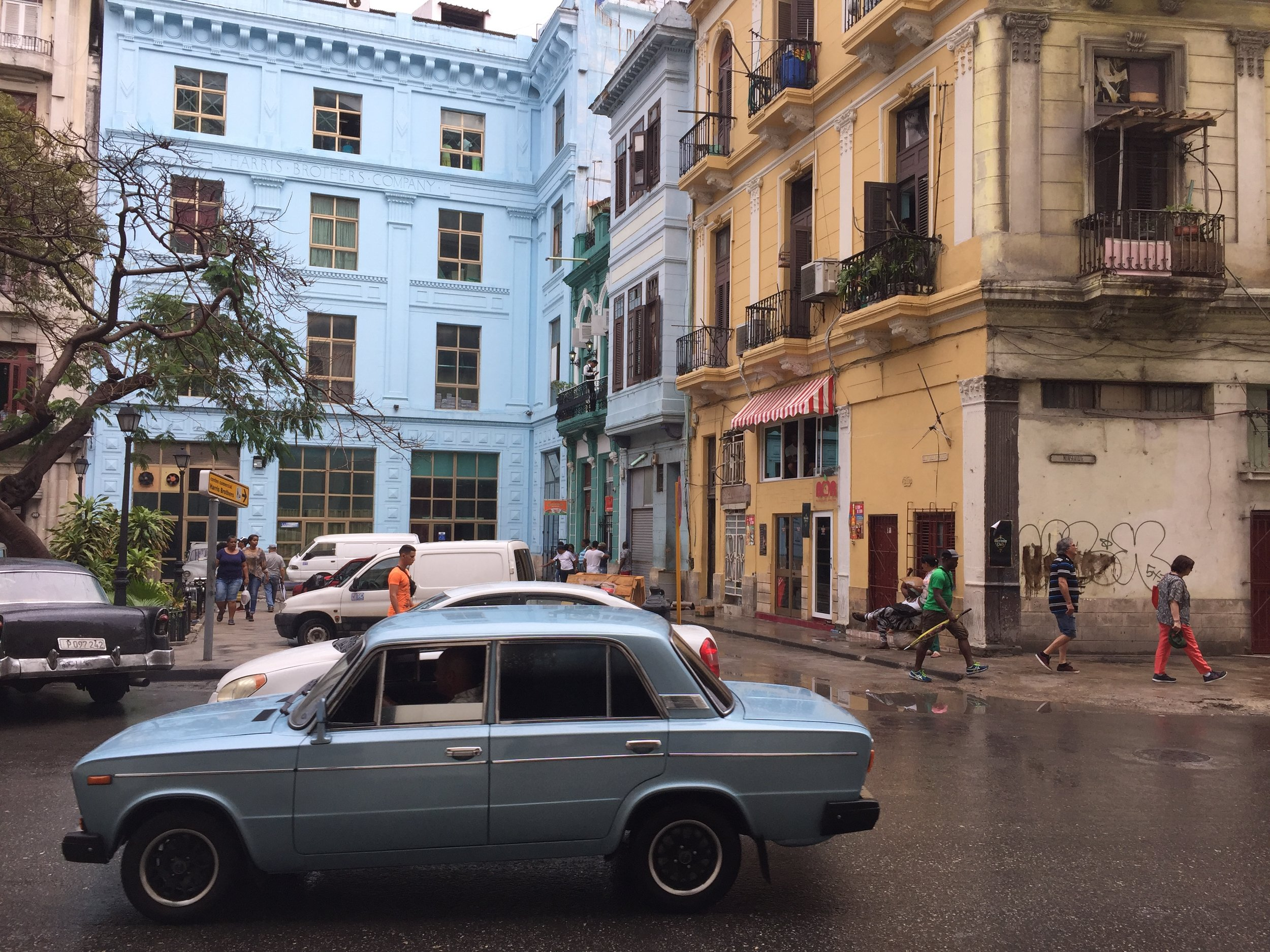 The rain never washes out the color in Old Havana.