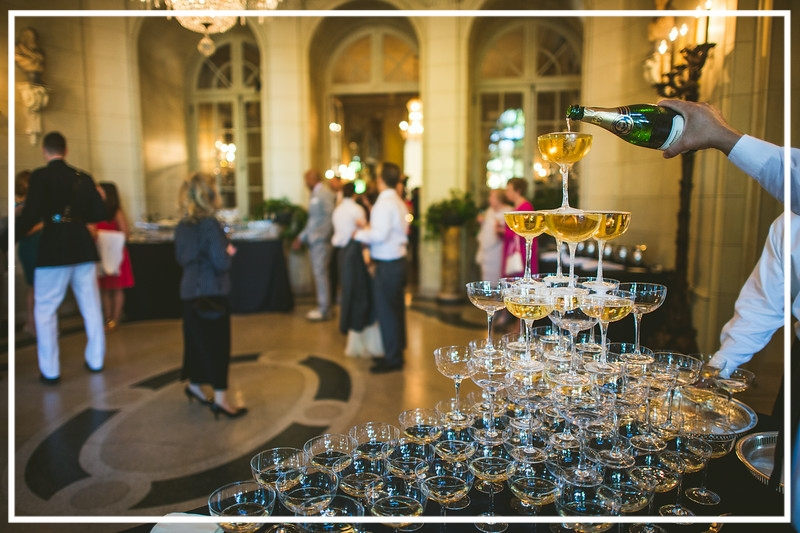 Guests were wowed by this champagne tower at a Fourth of July Wedding