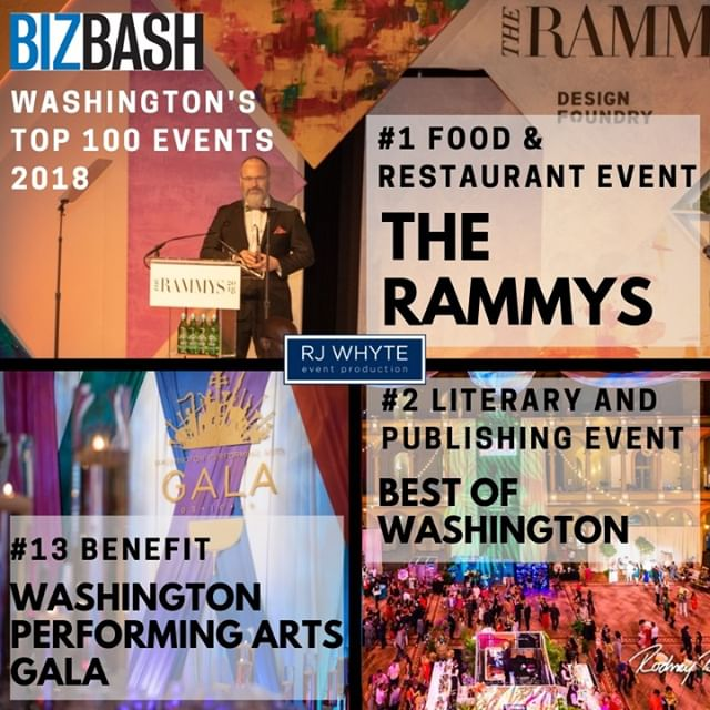 We are humbled and honored to have THREE of our events listed among @BizBash Top 100 Events in DC for 2018! Thank you to all of our clients and vendors who helped to bring these events to life. Can't wait to see what 2019 has in store for #teamrjwhyte! #bizbash #top100 #events #eventproducer #dcevents #igdc