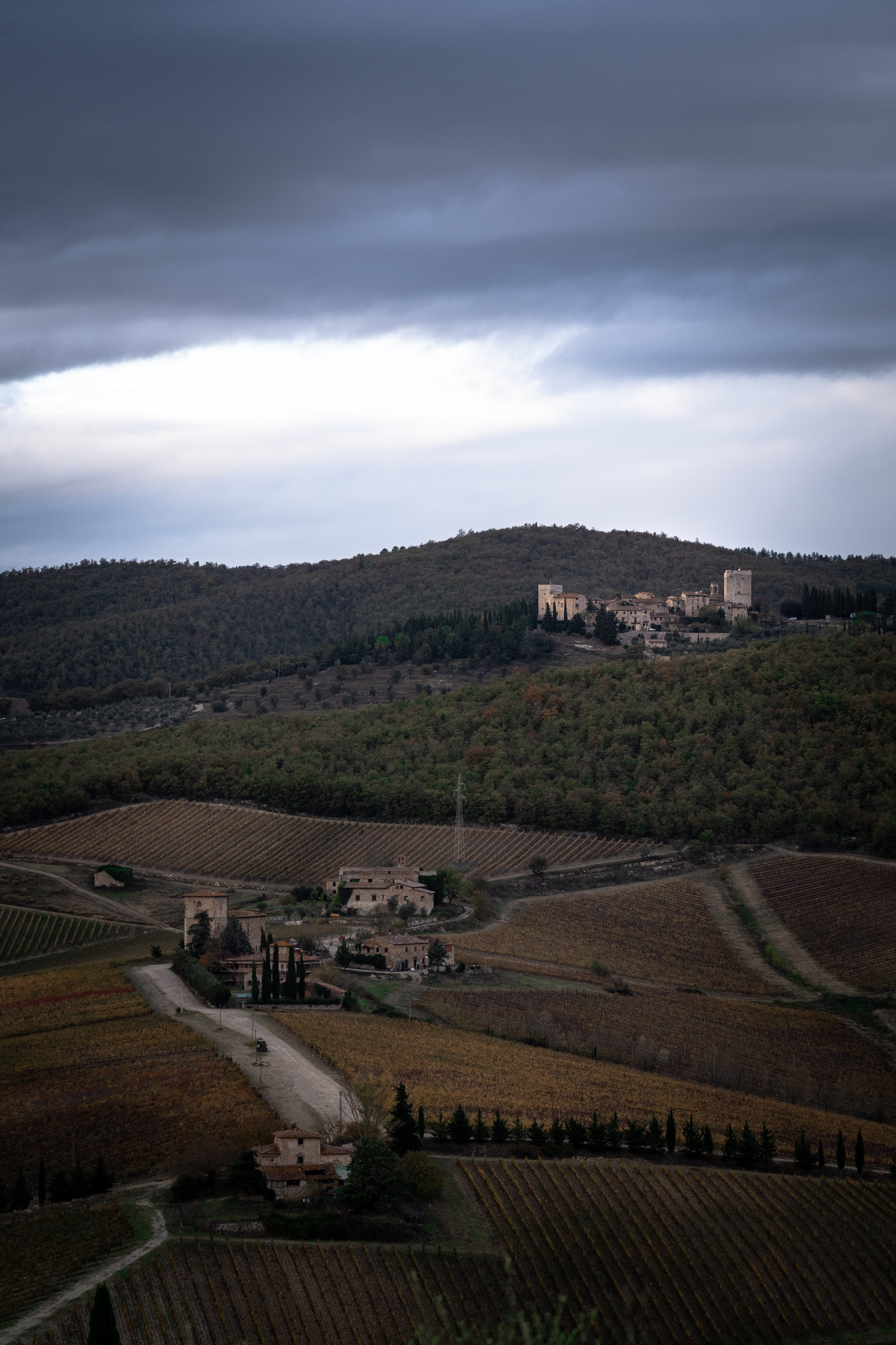 View from Meleto Castle on Tuscan countryside